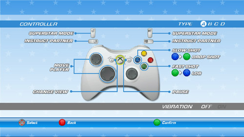 SEGA Superstars Tennis control Configuration A